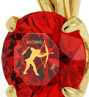 """Christmas Presents for Sister, Gold Necklace With Sagittarius Ruby Pendant, Cool Gifts for Teen, Girls by Nano Jewelry """