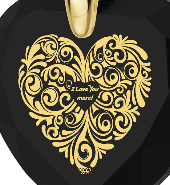 """Heart Necklaces for Girlfriend,""I Love You More"" Engraved Jewelry, Great Gifts for Wife, Nano"""
