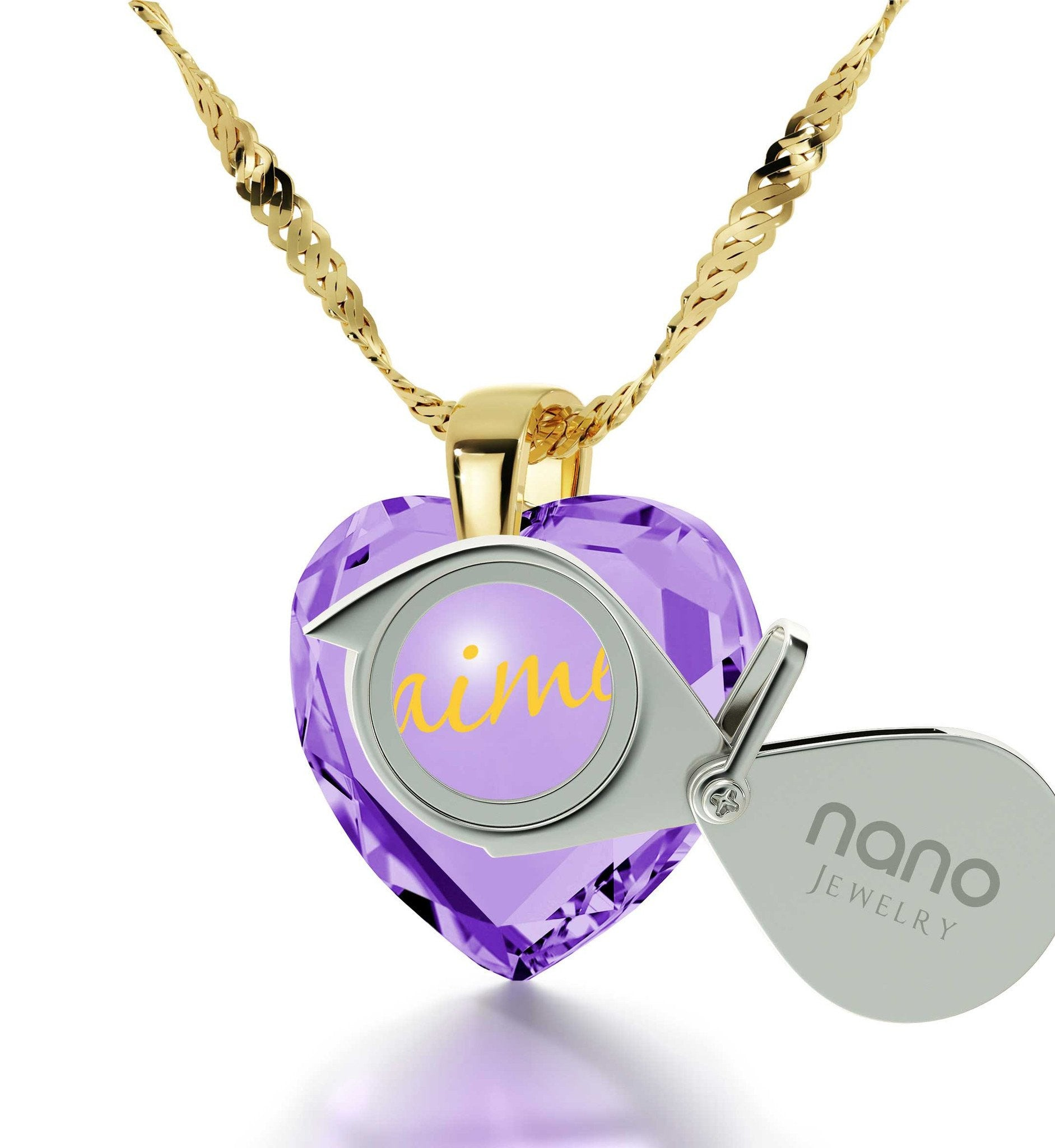 "Birthday Surprises for Her,""I Love You"" in French, CZ Jewelry, Cute Necklaces for Girlfriend, Nano"