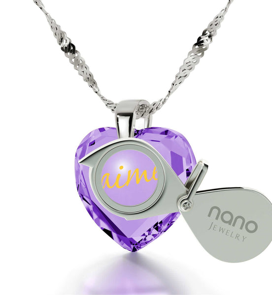 "Birthday Surprises for Her,""I Love You"" in French,CZ Jewelry, Cute Necklaces for Girlfriend, Nano"