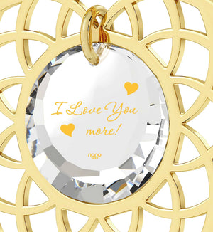 """Necklace for Her,""I Love You More"" Engraved On Crystal CZ, Christmas Gift for Girlfriend"""