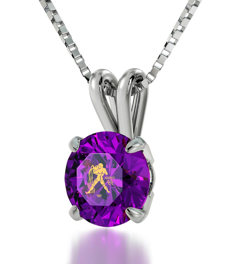 """Aquarius Necklace With 24k Imprint, Good Christmas Presents for  Mom, Gifts for  Women Friends, Purple Jewelry """