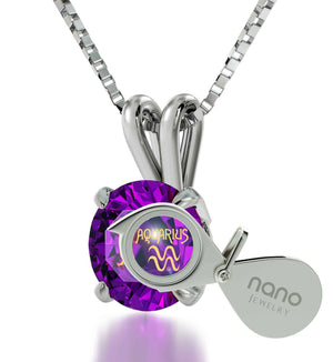 """Birthstone Aquarius Necklace With 24k Imprint, Gift for Wife Birthday, Presents for  Mom Birthday, by Nano Jewelry """