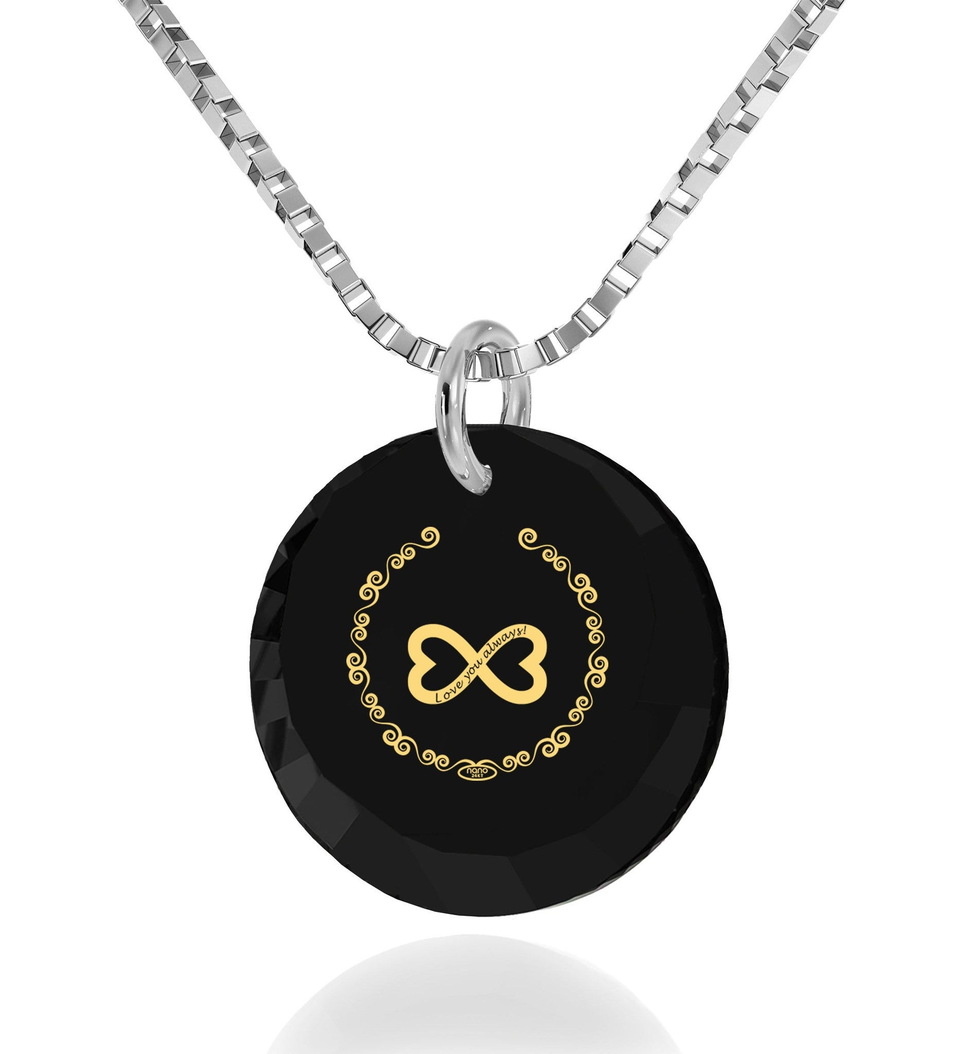 "Christmas Ideas for Girlfriend, ""Love You Always"" Inscribed on Black Stone, Gifts for Women Friends, Nano Jewelry"