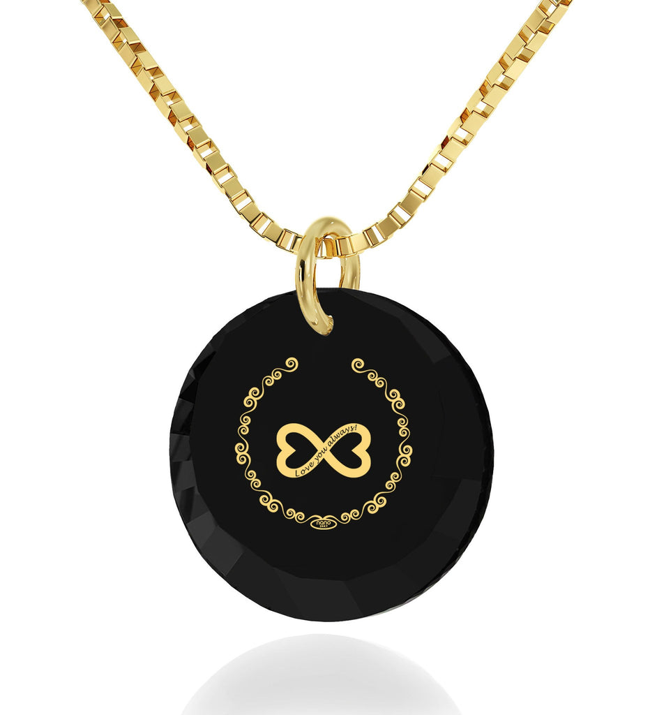 "Great Valentines Gifts for Her, ""Love You Always"" Inscribed on Black Stone, Necklaces for Your Girlfriend, by Nano Jewelry"
