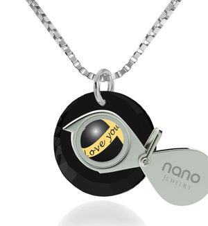"Women's Gifts for Christmas, ""Love You Always"" Engraved on Black Stone, Promise Necklace for Girlfriend, by Nano Jewelry"
