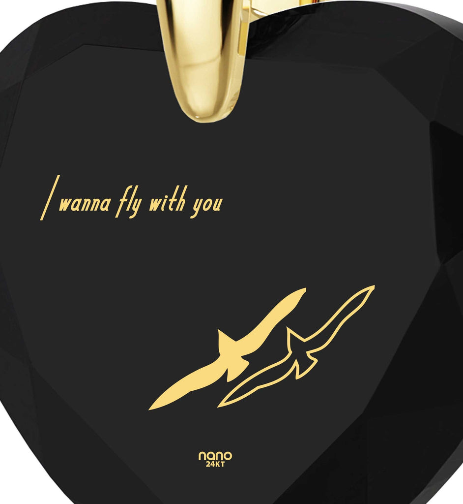 """Black Cubic Zirconia Jewelry,""I Wanna Fly with You"" Engraved In 24k Gold, Best Gift for Girlfriendby Nano Jewelry"""