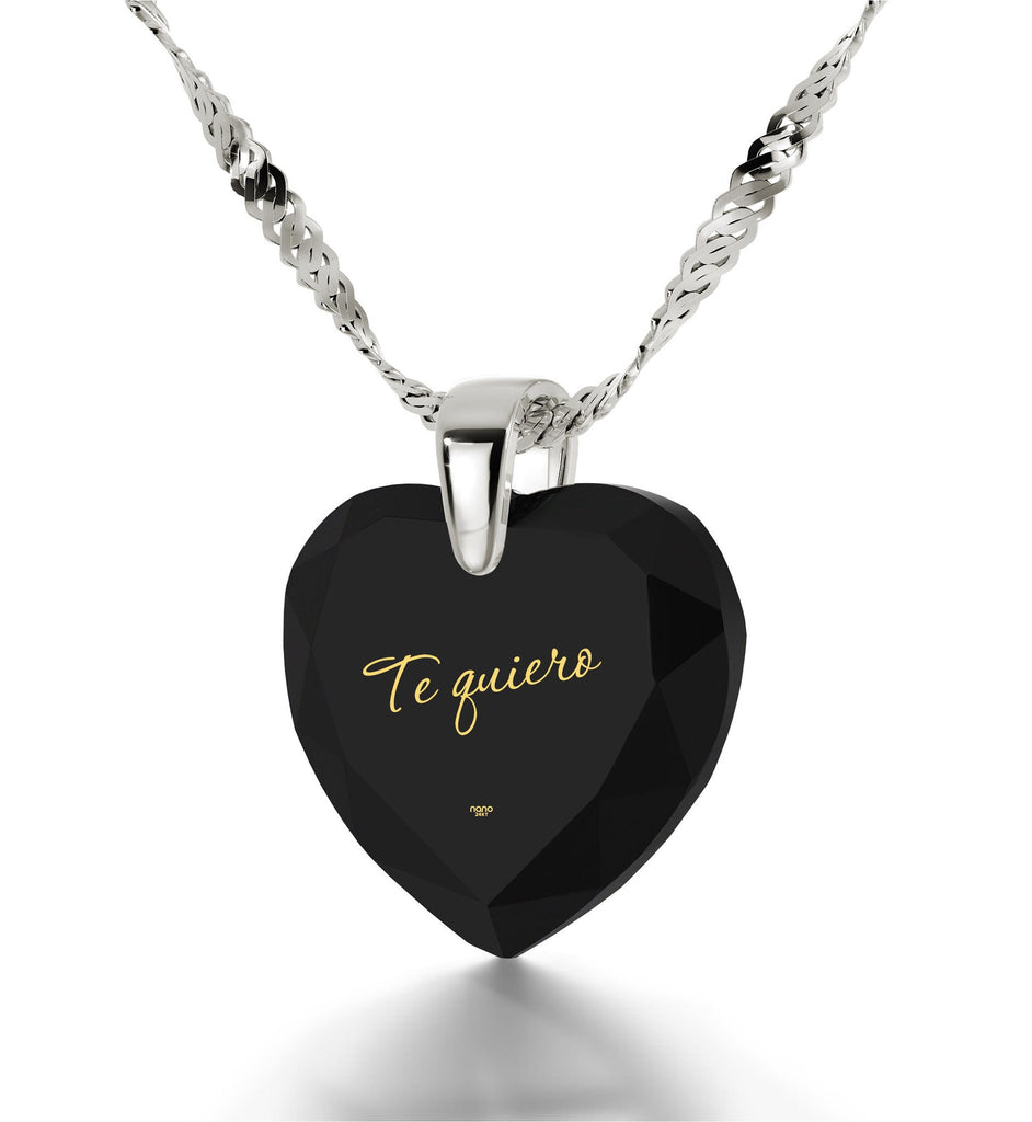 "Black CZ Jewellery Necklace for Women with""Te Quiero"" - I Love You in Spanish"