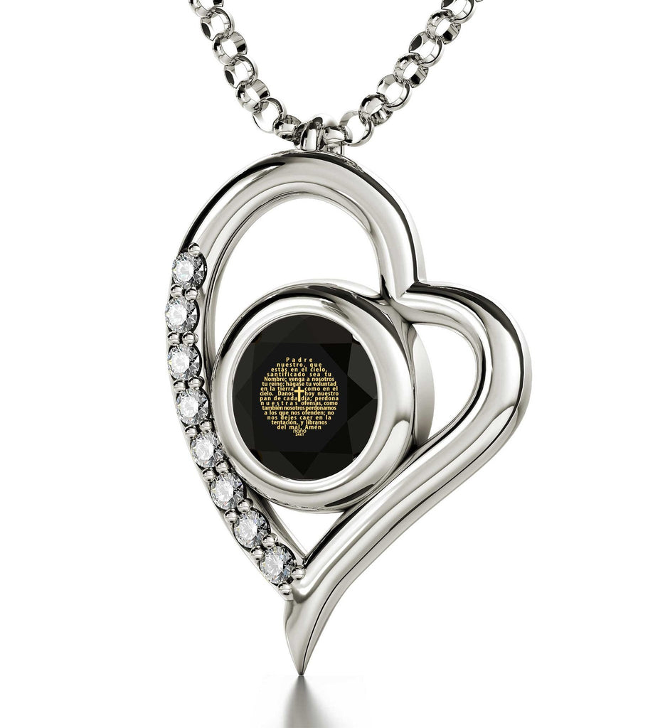 """White Gold 14k Heart Our Father Prayer Necklace, What to Buy Wife for Christmas, Christian Gifts for Women"""