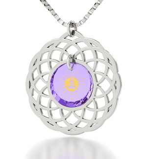 """Body and Mind"": Buddha Gifts, Womens Birthday Presents, Purple Pendant, Nano Jewelry"