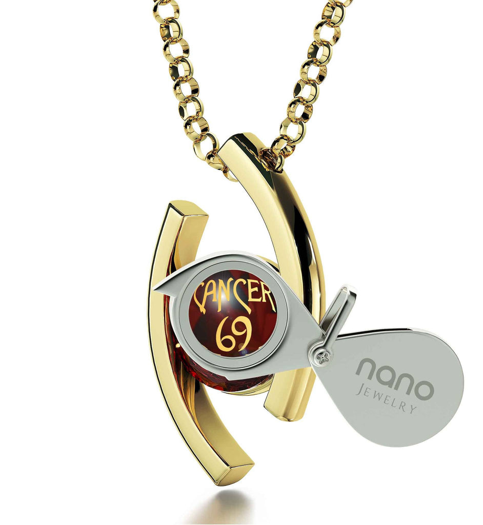 """Cancer Jewelry With Zodiac Imprint, Awesome Valentines Day Gifts for Her, 18th Birthday Gifts for Her, 14kt Gold Necklace """
