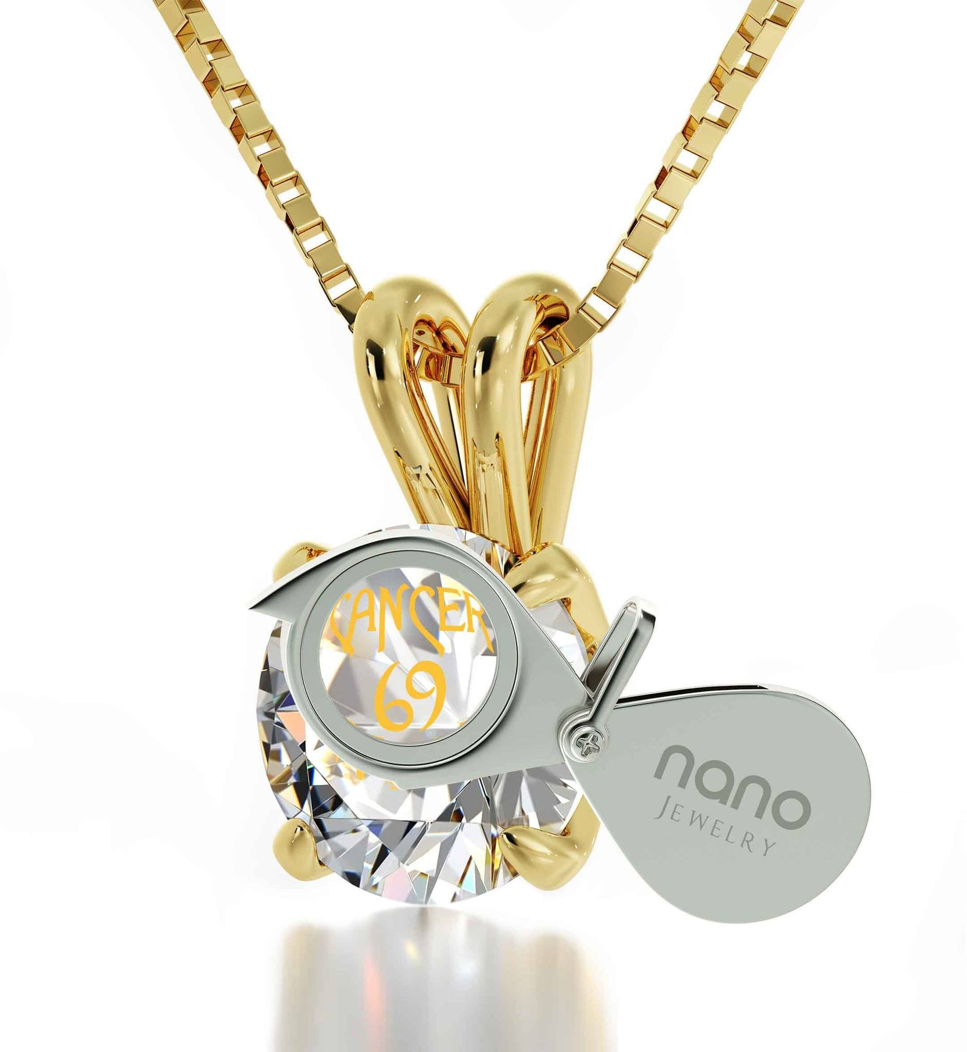 Birthday present for best friend cancer necklace by nano jewelry cancer engraved in 24k gold pendants for womens birthday gift for teenage girl aloadofball Choice Image