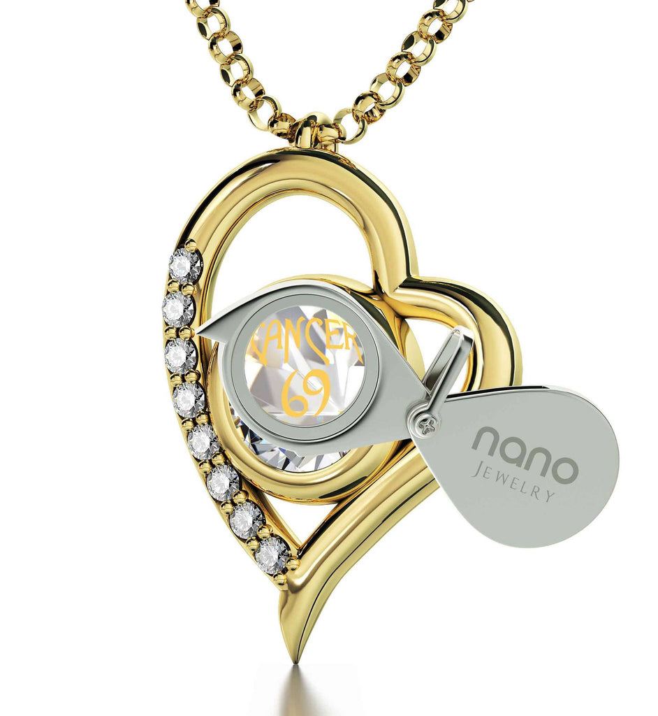"""Cancer Zodiac Necklace With 24k Imprint, What To Get Her for Christmas, Presents for Mom Birthday, Swarovski Crystal Jewelry"""