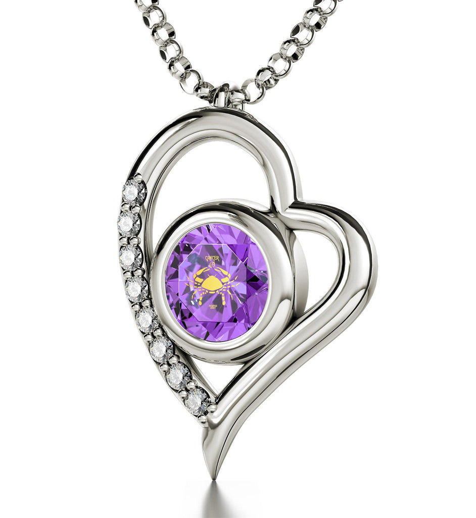 """Cancer Zodiac Necklaces With 24k Imprint, Valentine Gifts for Best Friend, Christmas Presents for My Wife, Purple Jewelry"""