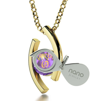 """Cancer Zodiac Necklaces With 24k Imprint, Top Womens Gifts, Jewellery Birthday Gifts for Her, by Nano Jewelry"""