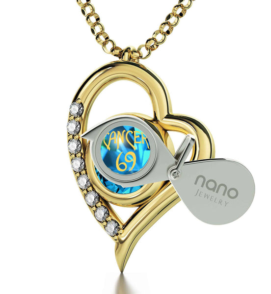 """Cancer Zodiac Sign With 24k Imprint, Good Christmas Presents for Mom, Unusual Valentines Gifts, Blue Topaz Jewelry"""
