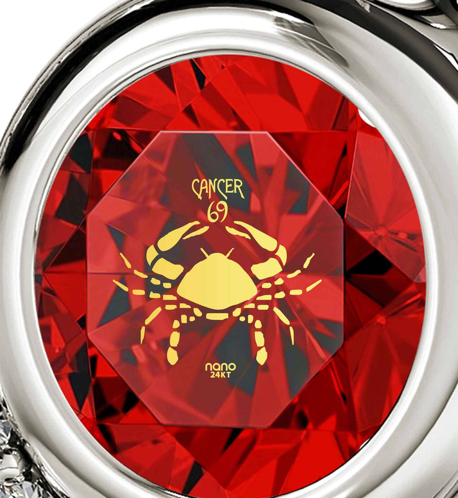 """Crab Necklace With Zodiac Imprint, Heart Necklaces for Girlfriend, Cool Xmas Presents, Ruby Jewelry"""
