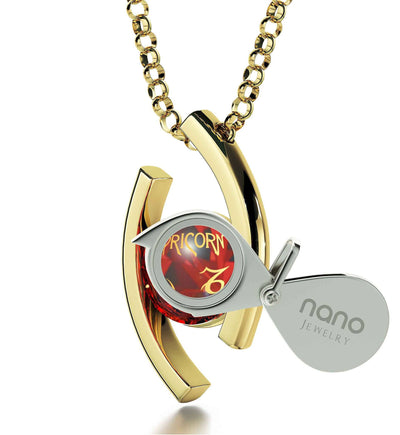 """Capricorn Jewelry With 24k Zodiac Imprint, What to Get My Girlfriend for Christmas, Valentine Gift for Wife, Red Pendant Necklace"""