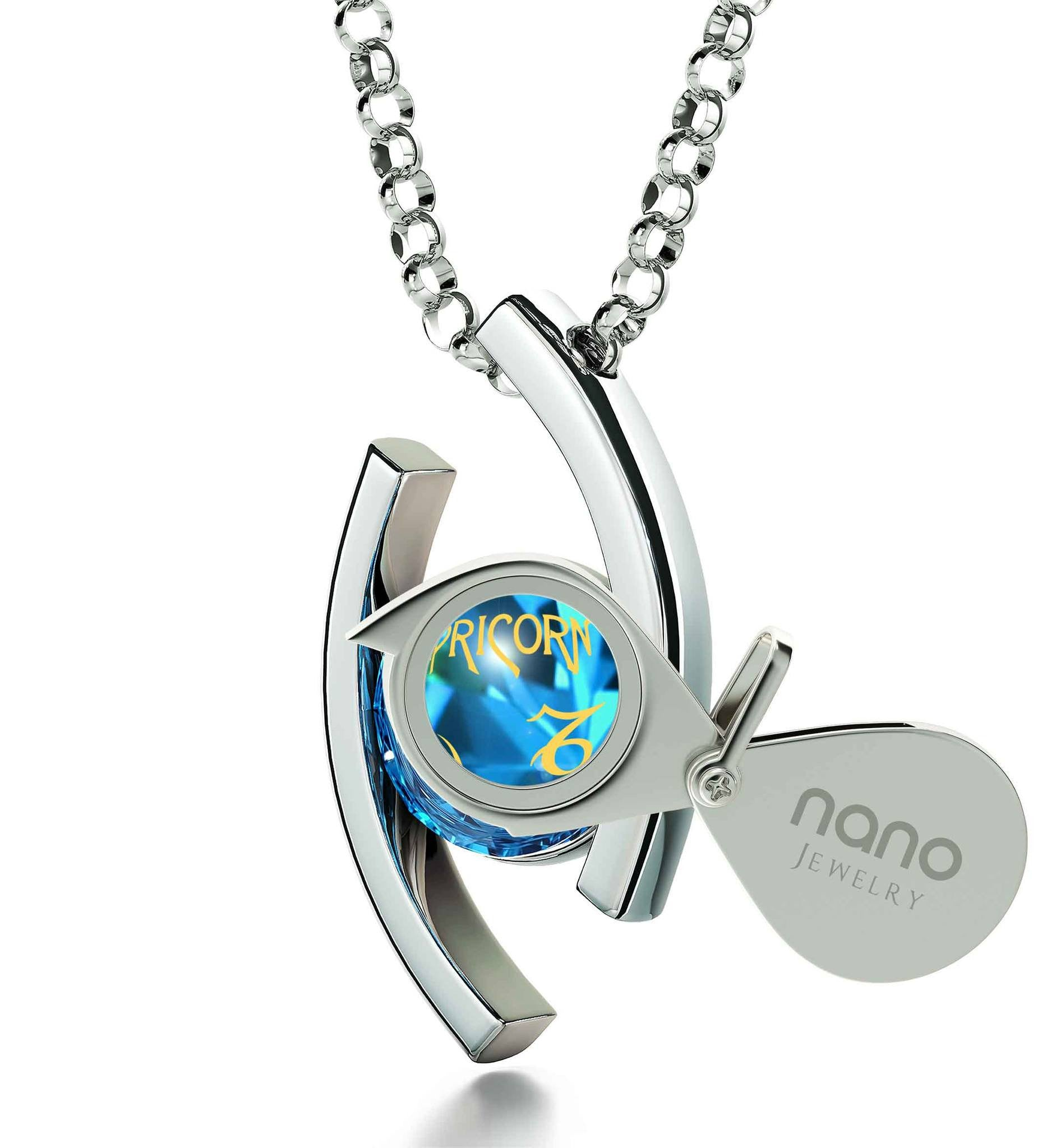 """Capricorn Jewelry With 24k Zodiac Imprint, Xmas Ideas for Her, Good Presents for Girlfriend, by Nano"""