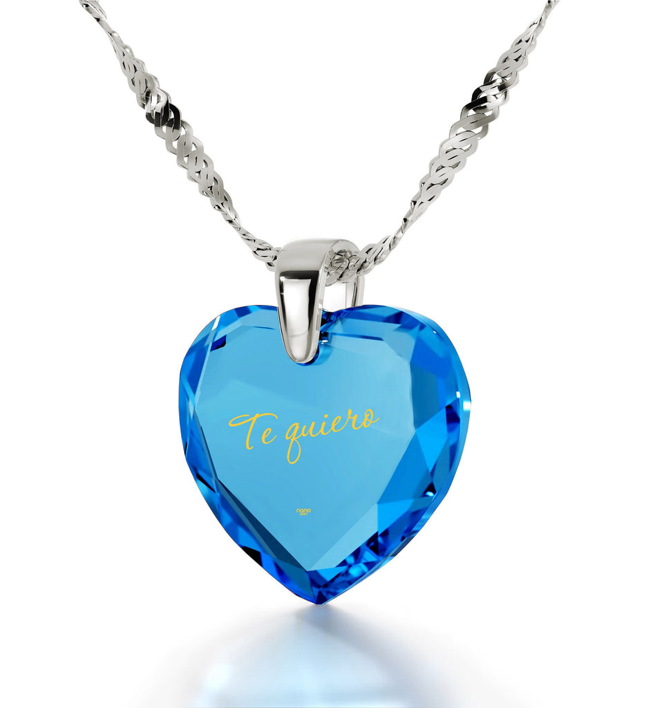 "Christmas Gifts For Girlfriend, Blue CZ Jewellery,Necklace for Women, I Love You in Spanish - ""Te Quiero"""