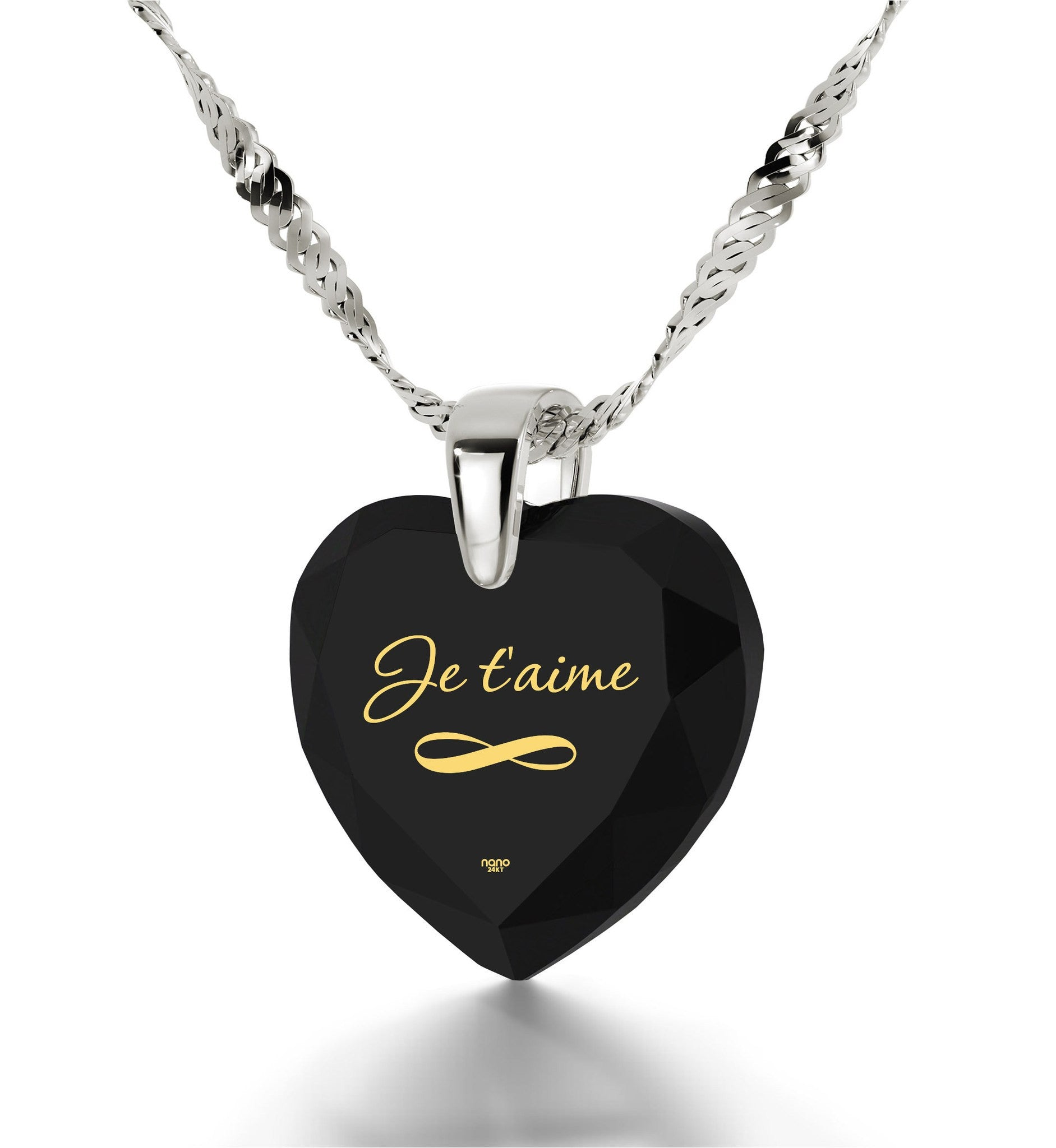 """Christmas Gifts for Girlfriend, ""I Love You"" in French – ""Je T'aime"" Engraved in 14k Pure White Gold, by Nano Jewelry"""