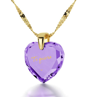 "Christmas Gifts for Girlfriend,""Te Quiero""- I Love You in Spanish, Purple CZ Jewellery, Necklace for Her"