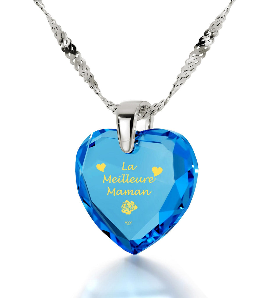 """Great Christmas Presents for Mom, ""La Meilleure Maman"", Sterling Silver Pendants for Womens, Special Mother's Day Gifts"""
