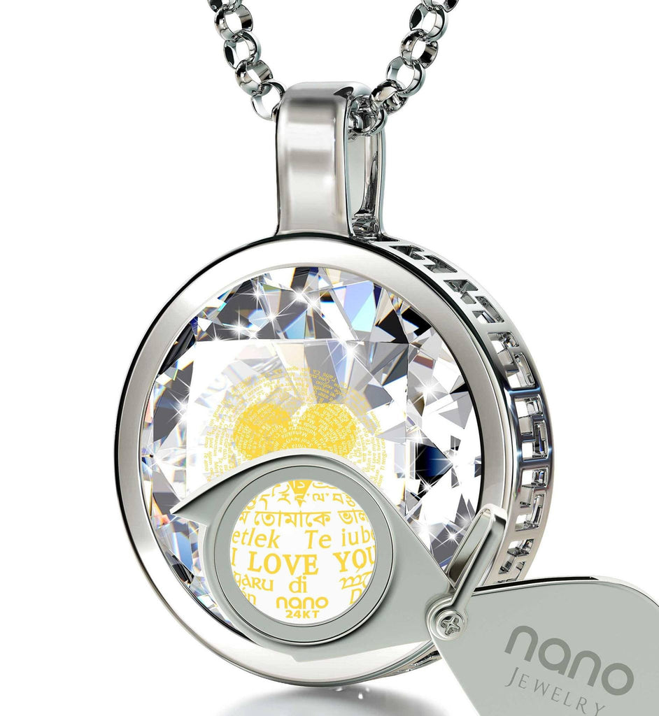 "Valentine'S Day Gifts for Her Jewelry: ""I Love You"" in 120 Languages - Round - Nano Jewelry"