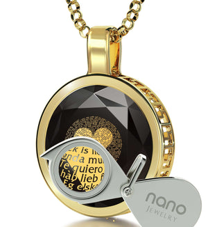 "Jewelry Valentine's Day Gift: ""I Love You"" in All Languages - Round - Silver Gold Plated - Nano Jewelry"