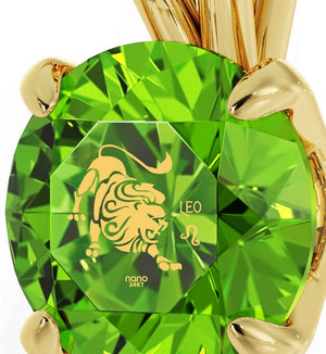 """Christmas Ideas for Mum: Beautiful Green Leo Pendant on Gold Filled Chain, Gift for Wife Birthday, Nano Jewelry"""
