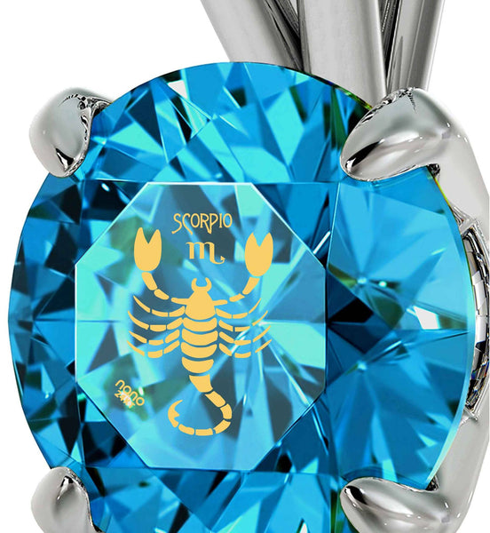"""Christmas Ideas for Mum, Blue Topaz Scorpio Jewelry, Good Anniversary Gifts for Her, by Nano"""