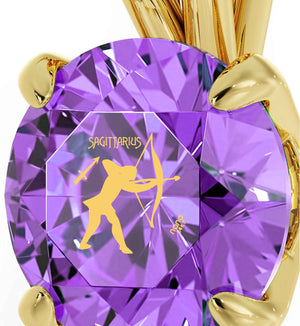 """Christmas Present Ideas for Girls, Purple Pendant With Sagittarius Sign, Popular Gifts for Teens """