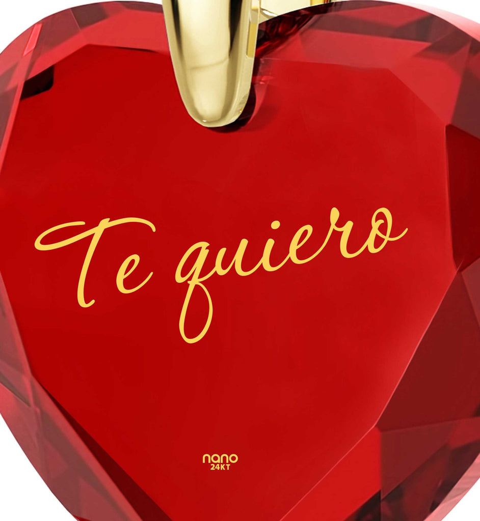 "Christmas Present Ideas for Girls,""Te Quiero"", CZ Jewelry, Heart Necklaces for Women, Nano"