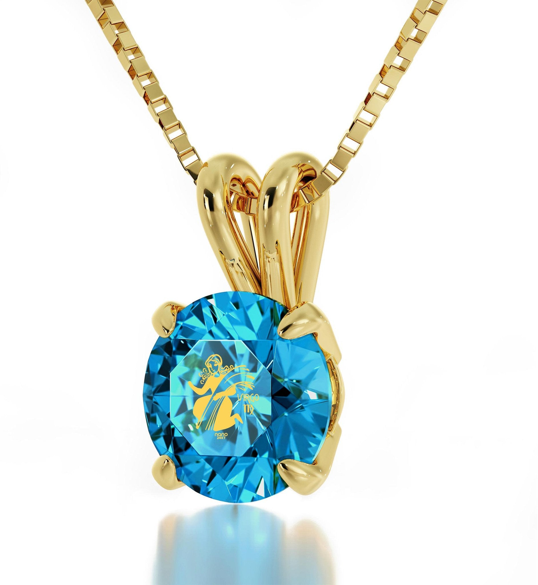 """Valentine Gifts for Kids, Virgo Sign Engraved on Blue Topaz Jewellery, Birthday Present for Sister, by Nano """