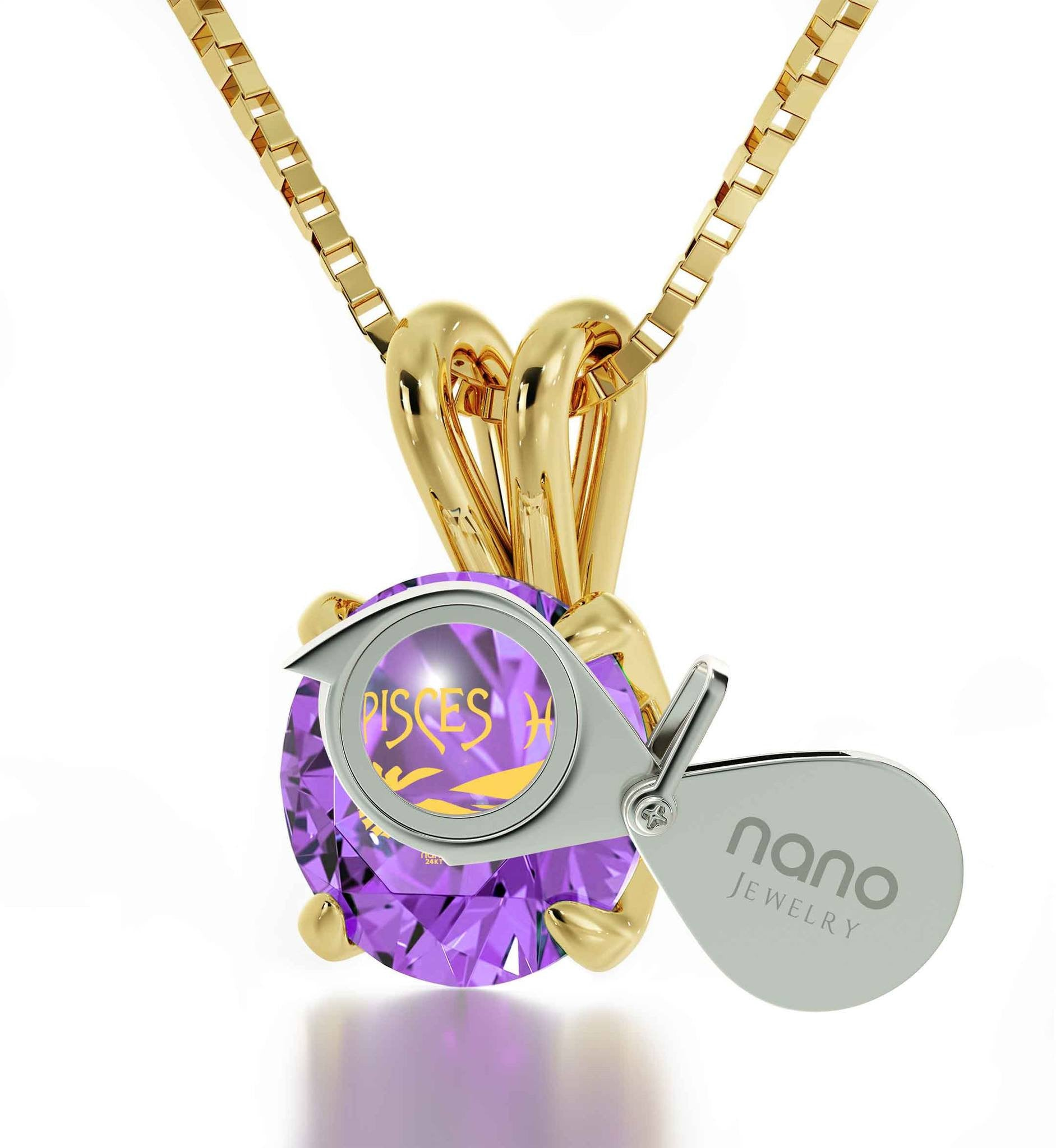 """Christmas Present Ideas for Girls, Zodiac Sign Necklace, Purple Stone, Jewelry Good Anniversary Gifts for Her by Nano"""