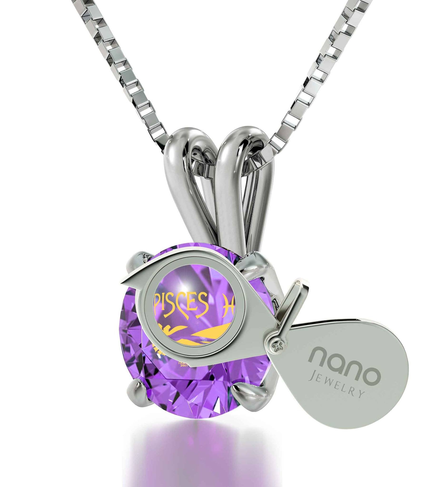 """ChristmasPresentIdeas for Girls, ZodiacSignNecklace, PurpleStone, JewelryGoodAnniversaryGifts for Her by Nano"""