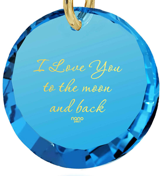 Christmas Present Ideas for Wife, Blue Topaz, 24k Imprint, I Love You Necklace for Girlfriend, Nano Jewelry
