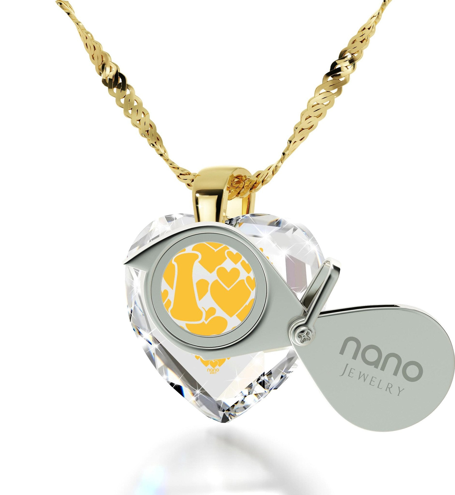 """What to Get Wife for Christmas, CZ Stone, 24k Imprint, Great Gifts for Girlfriend, Nano Jewelry"""