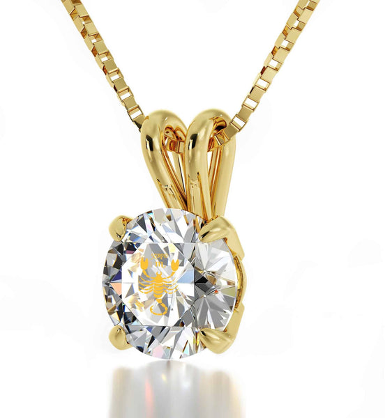 """Birthday Present for Sister, Scorpio Gold Necklace Chain With Crystal Pendant, Fun Gifts for Women"""