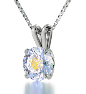 """Mum Birthday Present, Virgo Sign Engraved on 14k White Gold Crystal Stone Necklace, Gift Ideas for Young Women """