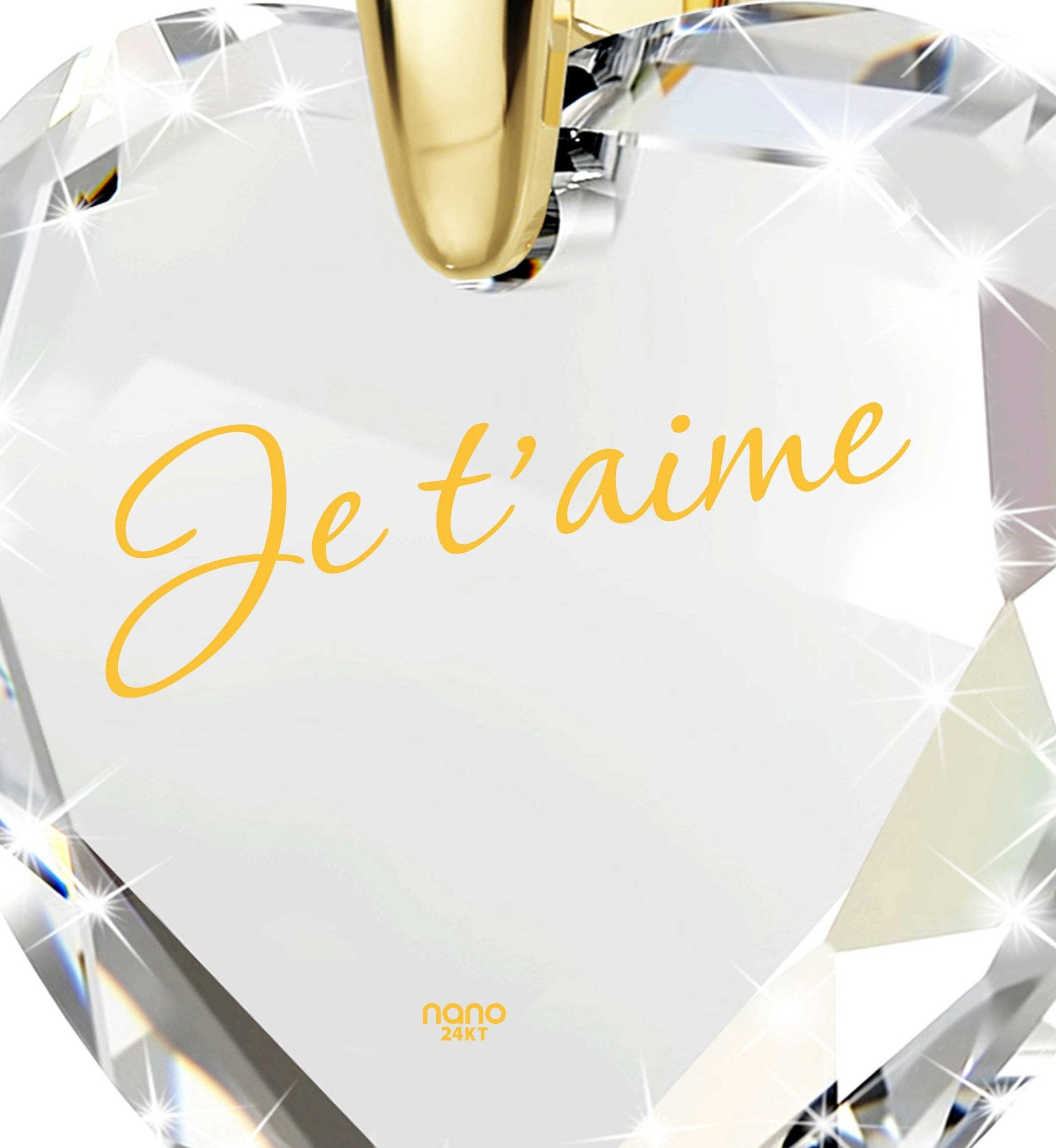 "Christmas Presents for Couples, 24k Engraved Jewelry,""Je T'aime"", 21 Birthday Gifts, Nano"
