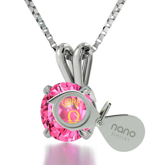 """Christmas Presents for Sister, Libra Sign Engraved on Pink Jewelry, Best Mom Gifts, by Nano"""