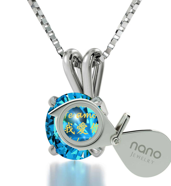 "Christmas Presents for the Wife: ""Te Amo"", Aquamarine Stone Necklace, Unusual Valentines Gifts by Nano Jewelry"