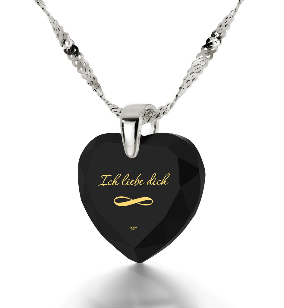"""30th Birthday Present Ideas for Her,White Gold Necklace with Pendant, ""I Love You"" in German, Gifts for Girlfriend Christmas"""