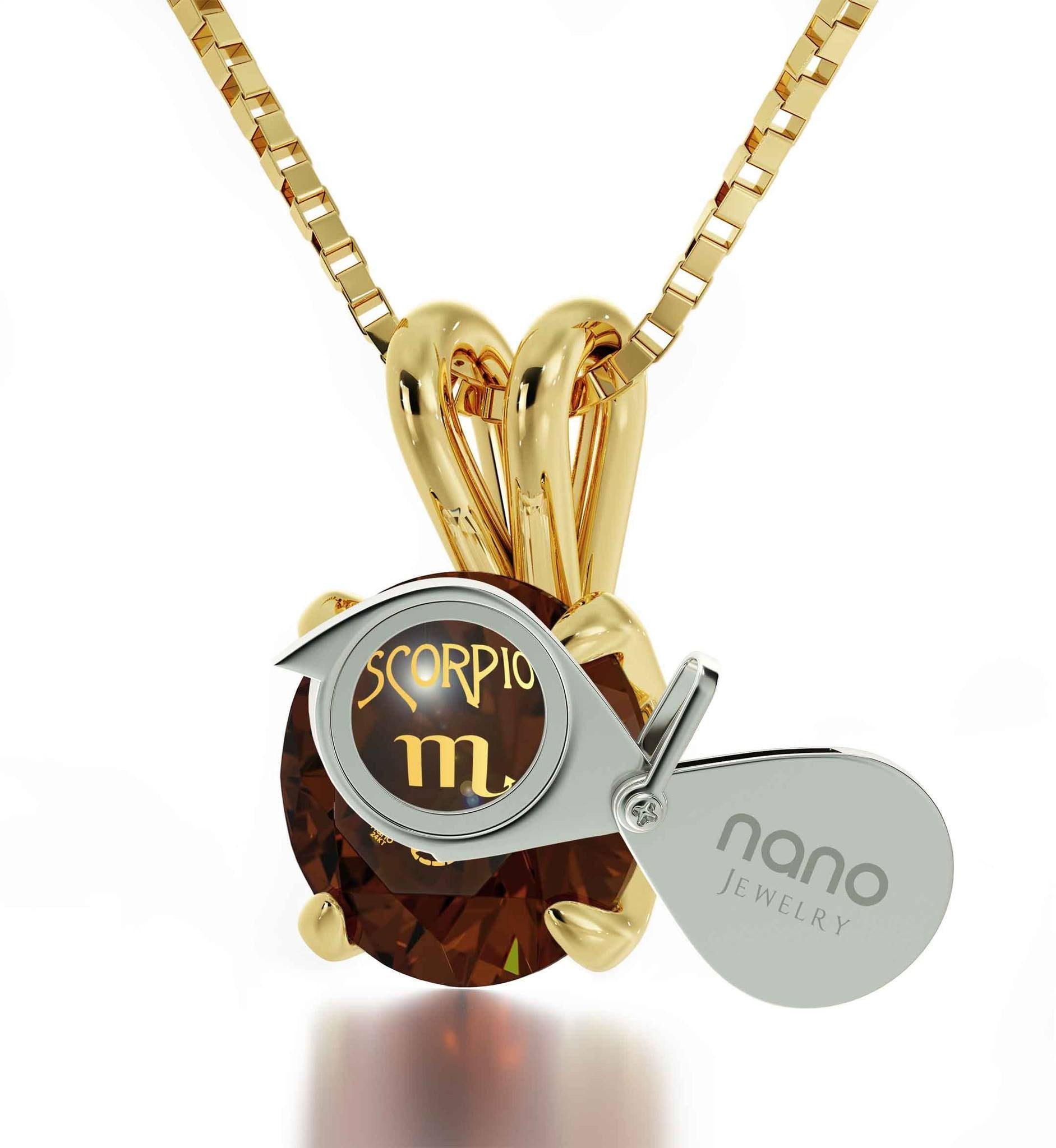 """Christmas Presents for Your Best Friend, Brown Stone Scorpio Necklace, Birthstone Jewelry for Mom, by Nano """