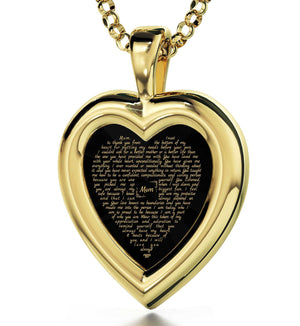 Christmas Presents Mom, 14k Gold Necklace with Pendant, CZ Black Heart, Special Mother's Day Gifts