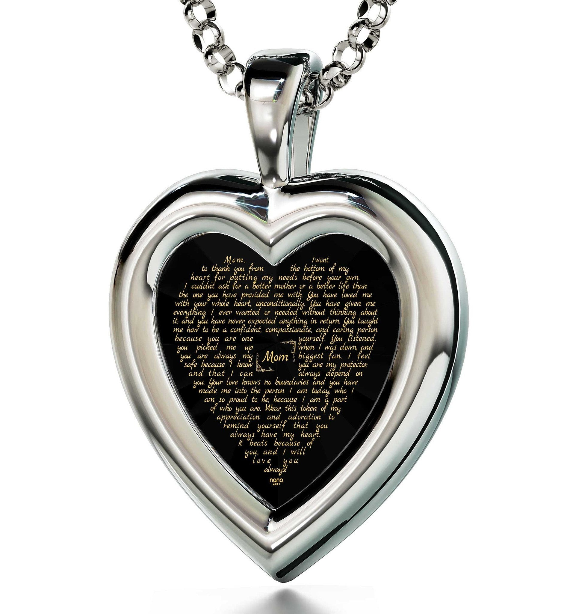 Christmas Presents Mom: 14k White Gold Necklace with Pendant, CZ Black Heart, Special Mother's Day Gifts