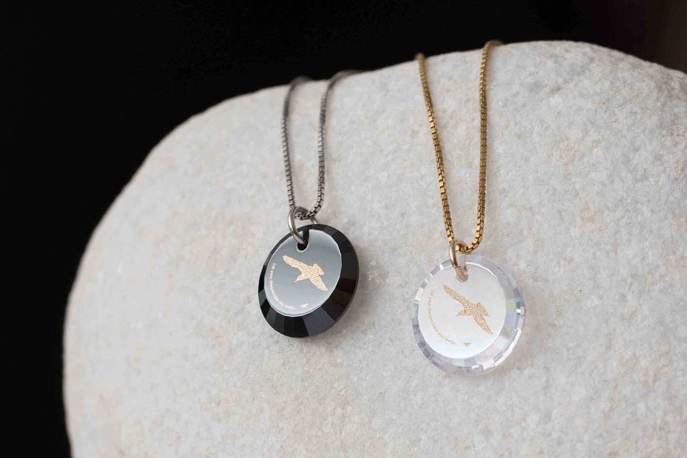 College Graduation Gifts: Bird Necklace Engraved, Daughter Necklace, Nano Jewelry