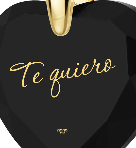 "Cool Christmas Present,""TeQuiero""- I Love You in Spanish, Birthday Gift for Her, Black Cubic Zirconia Jewelry"