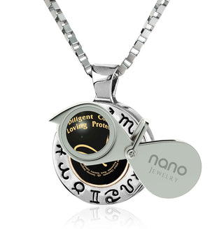 Cool Man Gifts: Leo Sign Necklace with Silver Chain, Valentines Day Presents for Him, by Nano Jewelry